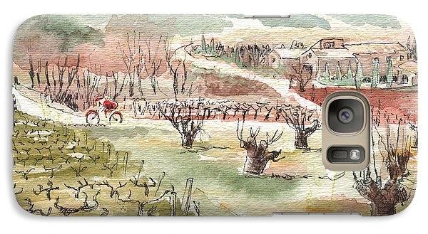 Galaxy Case featuring the painting Bicycling Through Vineyards by Tilly Strauss