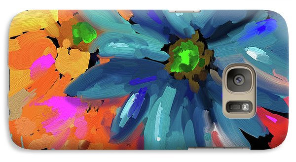 Galaxy Case featuring the painting Big Blue Flower by DC Langer