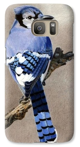 Galaxy Case featuring the drawing Big Blue Jay by Ana Tirolese
