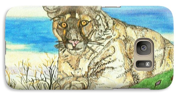 Galaxy Case featuring the painting Big Cat Watching Out For Prey by Connie Valasco
