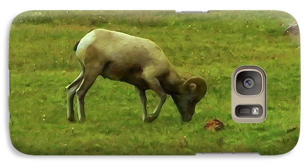 Galaxy Case featuring the digital art Bighorn Sheep Grazing by Chris Flees