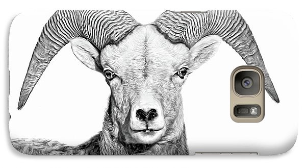 Galaxy Case featuring the photograph Bighorn Sheep Ram Black And White by Jennie Marie Schell
