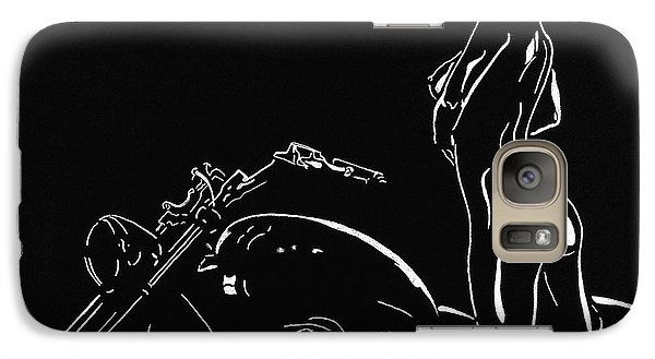 Galaxy Case featuring the drawing Biker Biach by Mayhem Mediums