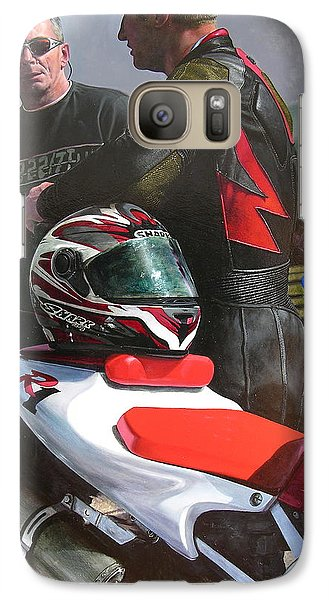 Galaxy Case featuring the painting Bikers At The Horseshoe Pass by Harry Robertson