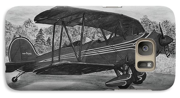 Biplane In Black And White Galaxy Case by Megan Cohen