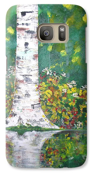 Galaxy Case featuring the  Birch In Flowers by Gary Smith