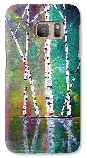 Galaxy Case featuring the painting Birch On Bank by Gary Smith