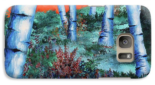 Galaxy Case featuring the painting Birch Trees At Sunset by Curtiss Shaffer