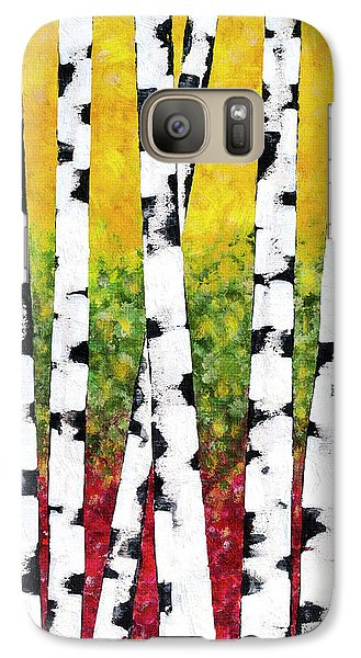 Galaxy S7 Case featuring the mixed media Birch Forest Trees by Christina Rollo