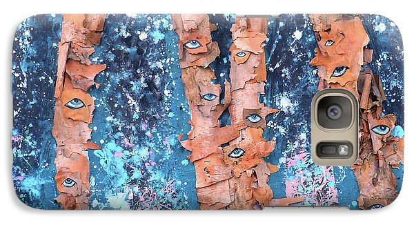 Galaxy Case featuring the mixed media Birch Trees With Eyes by Genevieve Esson
