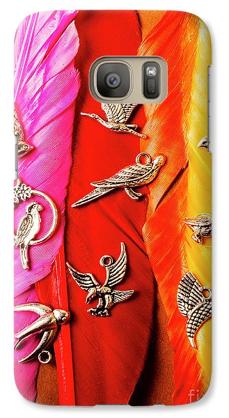 Colours Galaxy S7 Case - Bird Icons And Rainbow Feathers by Jorgo Photography - Wall Art Gallery