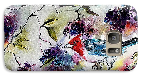 Galaxy Case featuring the painting Bird In Elderberry Bush Watercolor by Ginette Callaway