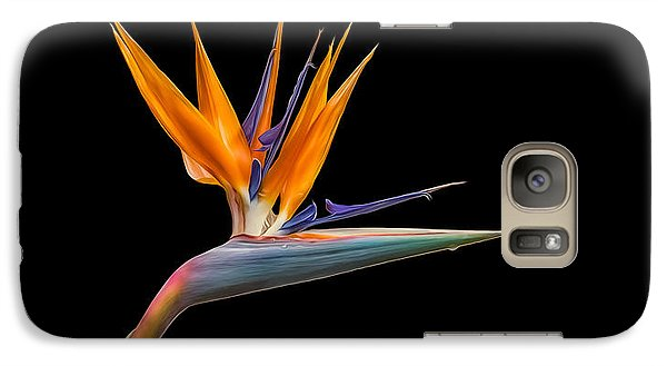 Galaxy S7 Case featuring the photograph Bird Of Paradise Flower On Black by Rikk Flohr