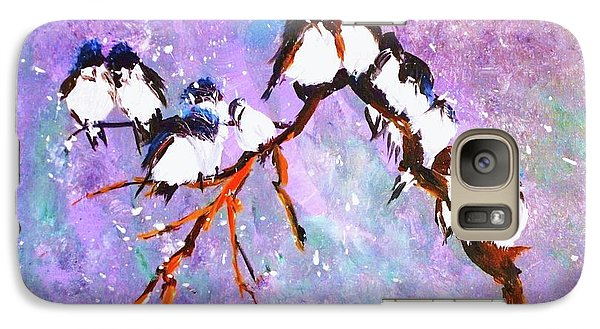 Galaxy Case featuring the painting Bird Snowfall Limited Edition Print 1-25 by Donna Dixon