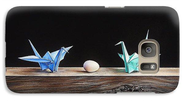 Galaxy Case featuring the drawing Birds by Elena Kolotusha