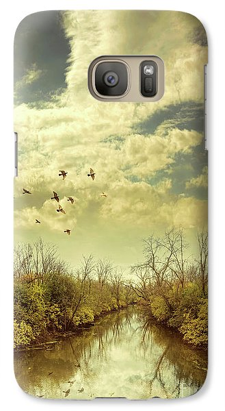 Galaxy Case featuring the photograph Birds Flying Over A River by Jill Battaglia