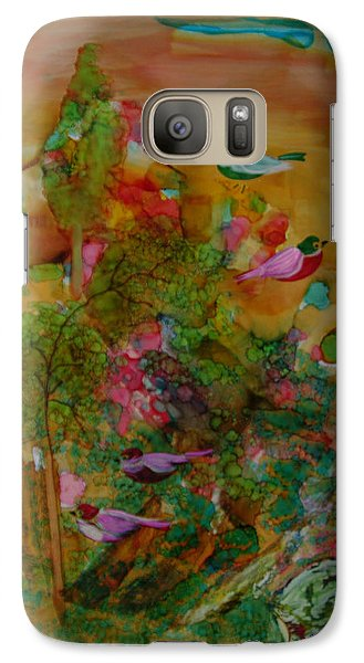 Galaxy Case featuring the painting Birds In Exotic Landscape # 57 by Sima Amid Wewetzer