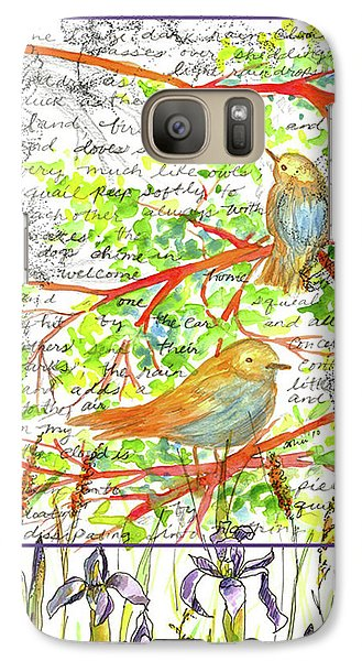 Galaxy Case featuring the painting Bluebirds Nature Collage by Cathie Richardson