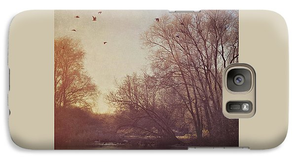 Galaxy Case featuring the photograph Birds Take Flight Over Lake On A Winters Morning by Lyn Randle