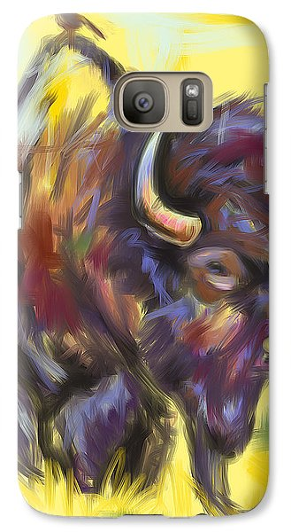 Galaxy Case featuring the painting Bison And Bird by Go Van Kampen