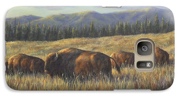 Galaxy Case featuring the painting Bison Bliss by Kim Lockman