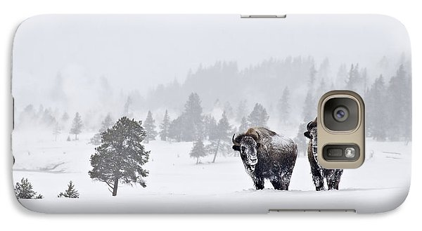 Galaxy Case featuring the photograph Bison In The Snow by Gary Lengyel