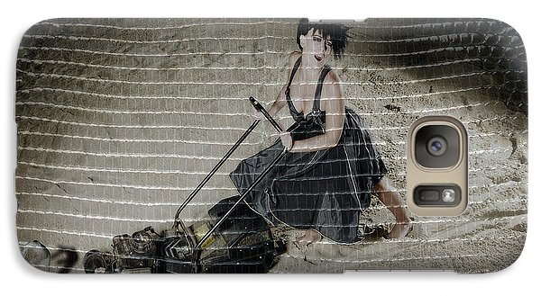 Galaxy Case featuring the photograph Bizarre Girl With Lawn Mower On Beach by Michael Edwards