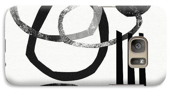 Abstract Galaxy S7 Case - Black And White- Abstract Art by Linda Woods