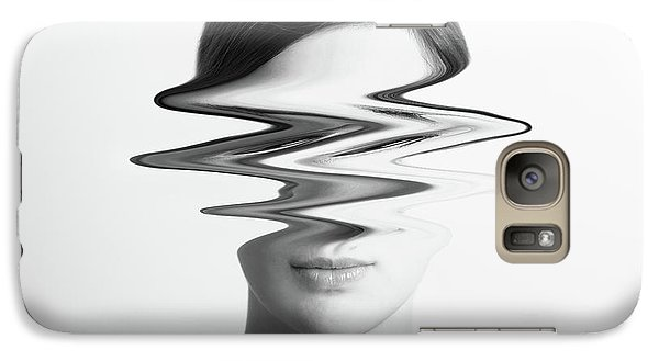 Black And White Abstract Woman Portrait Of Restlessness Concept Galaxy Case by Radu Bercan