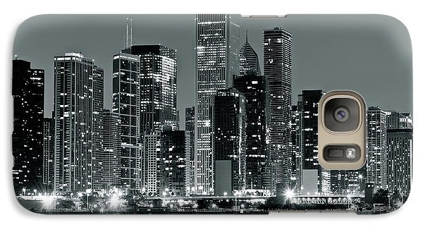 Galaxy Case featuring the photograph Black And White And Grey Chicago Night by Frozen in Time Fine Art Photography