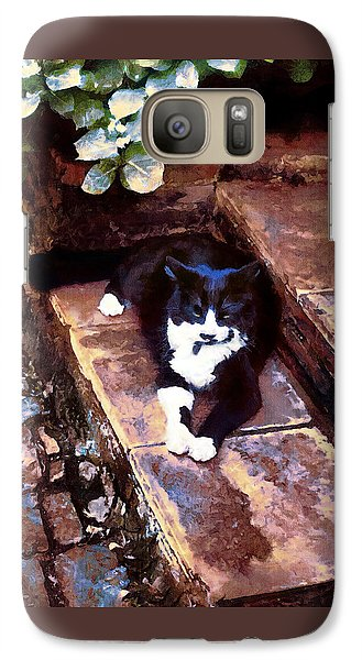 Black And White Cat Resting Regally Galaxy S7 Case