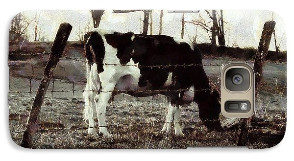 Galaxy Case featuring the photograph Black And White - Cow In Pasture - Vintage by Janine Riley