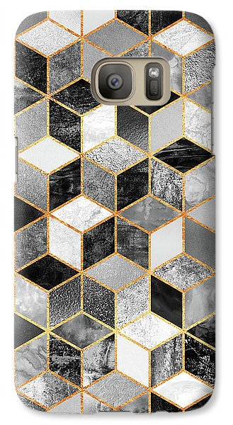 Black And White Cubes Galaxy Case by Elisabeth Fredriksson