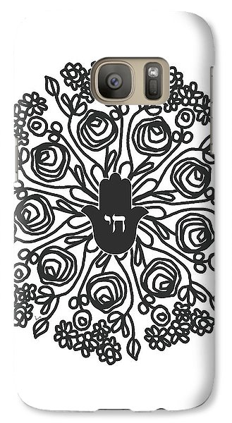 Galaxy Case featuring the mixed media Black And White Hamsa Mandala- Art By Linda Woods by Linda Woods