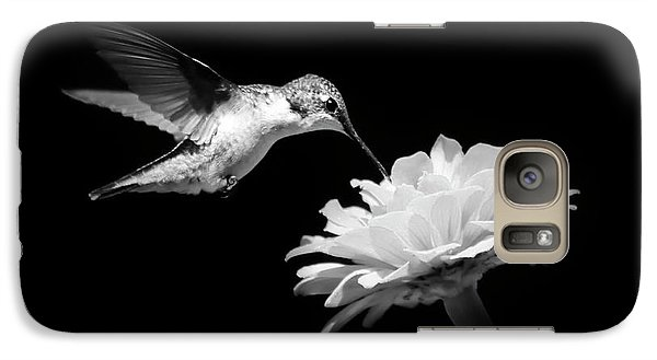 Galaxy S7 Case featuring the photograph Black And White Hummingbird And Flower by Christina Rollo