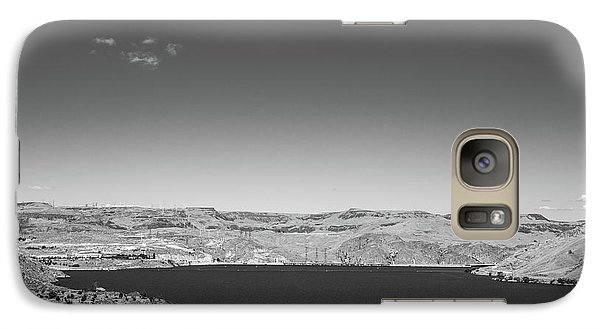 Galaxy Case featuring the photograph Black And White Landscape Photo Of Dry Glacia Ancian Rock Desert by Jingjits Photography