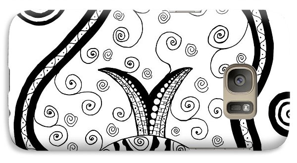 Galaxy Case featuring the drawing Black And White Life by Jill Lenzmeier