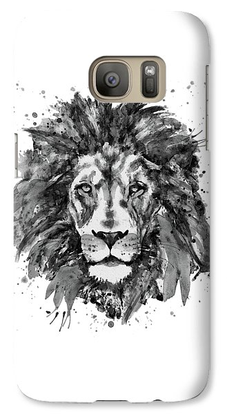 Galaxy Case featuring the mixed media Black And White Lion Head  by Marian Voicu