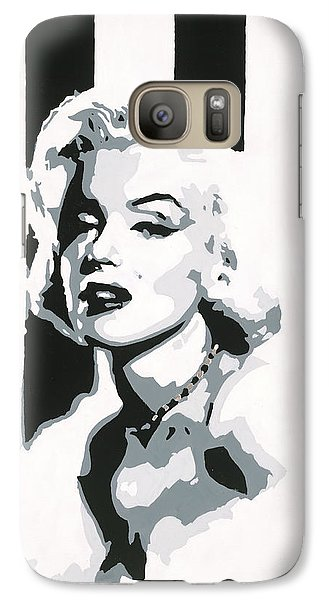 Galaxy Case featuring the painting Black And White Marilyn by Ashley Price