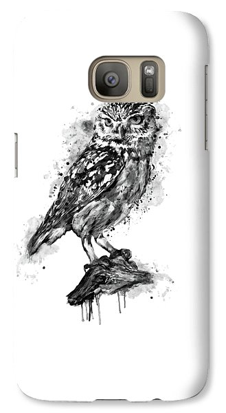 Galaxy Case featuring the mixed media Black And White Owl by Marian Voicu