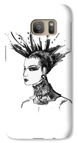 Galaxy Case featuring the digital art Black And White Punk Rock Girl by Marian Voicu
