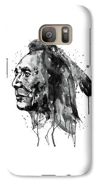 Galaxy Case featuring the mixed media Black And White Sioux Warrior Watercolor by Marian Voicu