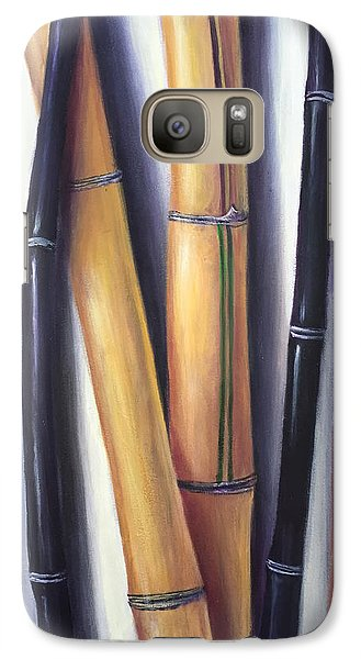 Galaxy Case featuring the painting Black And Gold Bamboos by Randol Burns