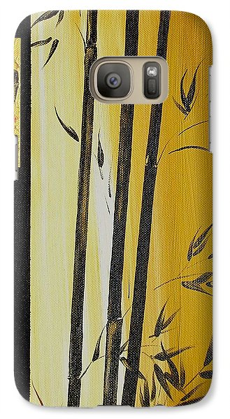 Galaxy Case featuring the painting Black Bamboo Zen  by Dina Dargo