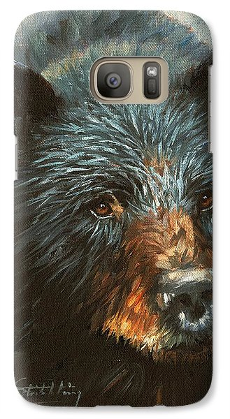 Galaxy Case featuring the painting Black Bear by David Stribbling