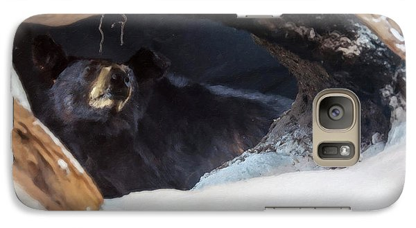 Galaxy Case featuring the digital art Black Bear In Its Winter Den by Chris Flees