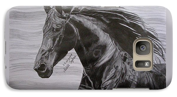 Galaxy Case featuring the drawing Black Beauty by Melita Safran