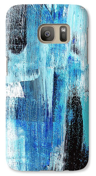 Galaxy Case featuring the painting Black Blue Abstract Painting by Christina Rollo