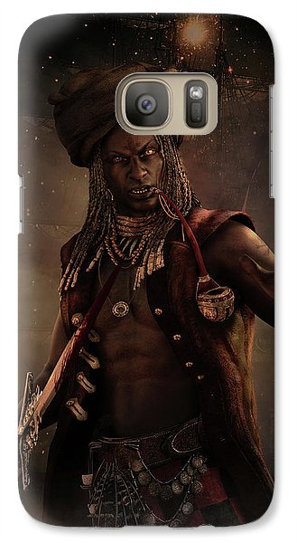 Galaxy Case featuring the digital art Black Caesar Pirate by Shanina Conway