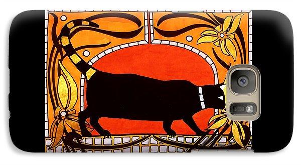 Black Cat With Floral Motif Of Art Nouveau By Dora Hathazi Mendes Galaxy S7 Case